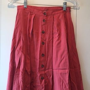 Rusty-red midi skirt